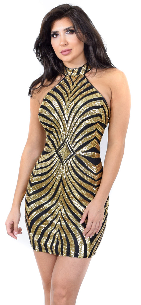 Christa Black Gold Sequin Dress
