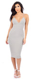 Grey Show Stopper Deep V Midi Dress - Emprada