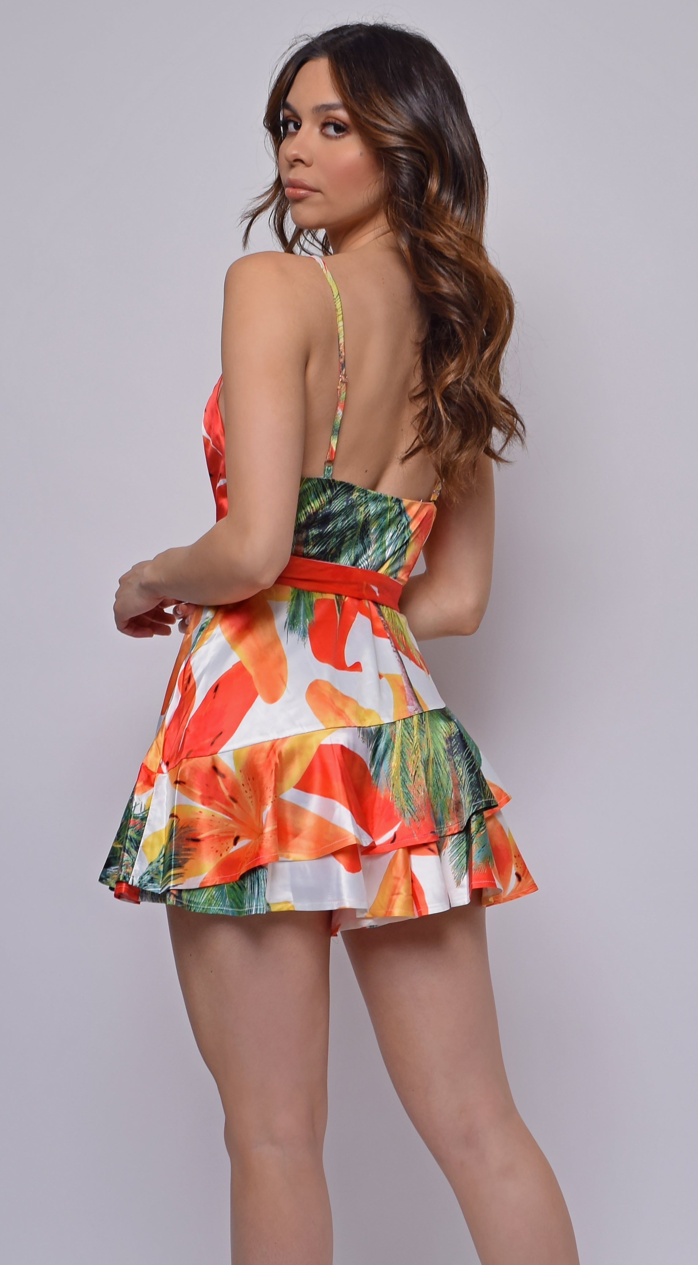 La dolce Orange Tropical Print Satin Romper