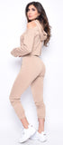 Sheya Nude One Shoulder Cut Out And Jogger Set