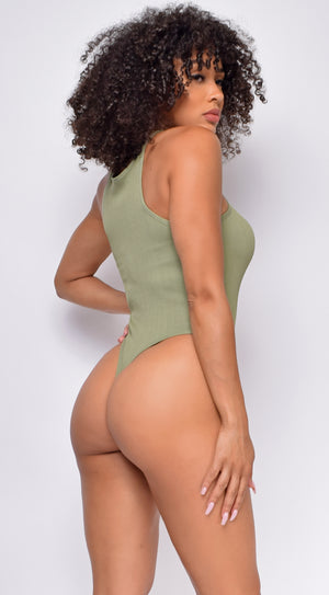 Run the Racerback Olive Green Ribbed Bodysuit