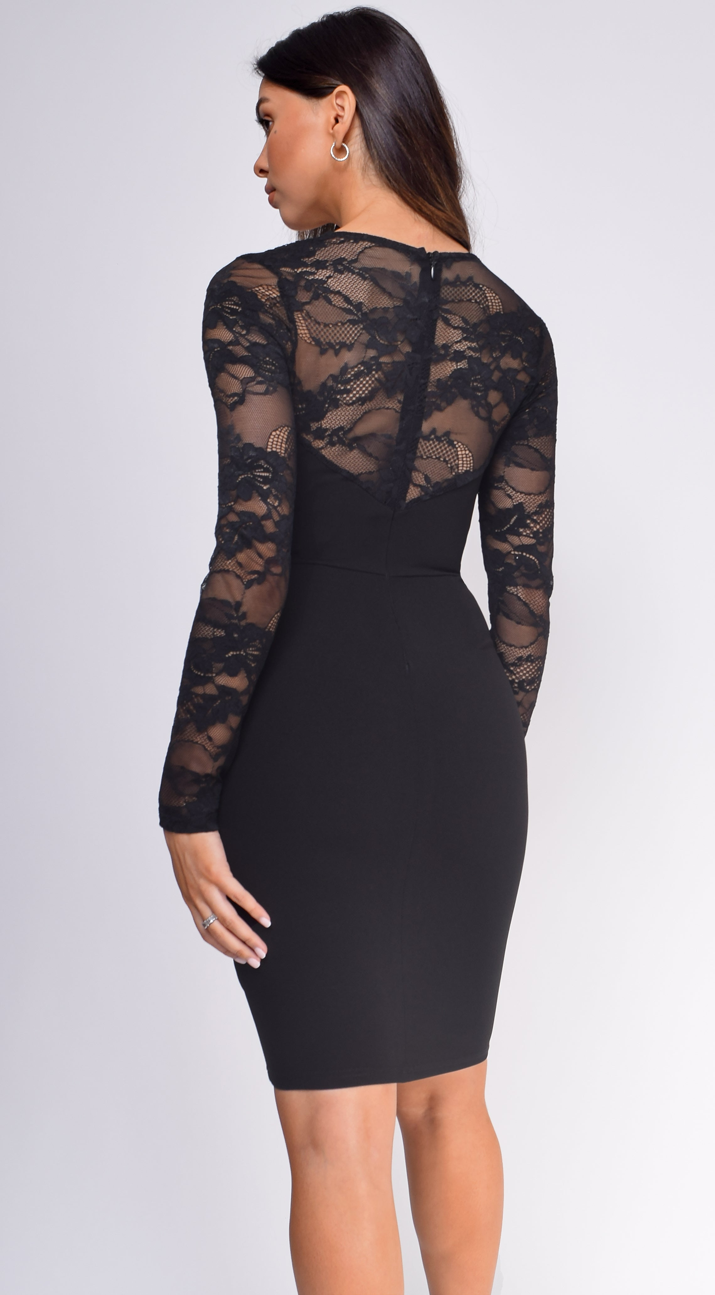 Amancia Black Bustier Lace Dress