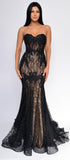 Valery Black Nude Lace Mermaid Gown