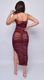 Kana Plum Red Ruched Mesh Slit Dress