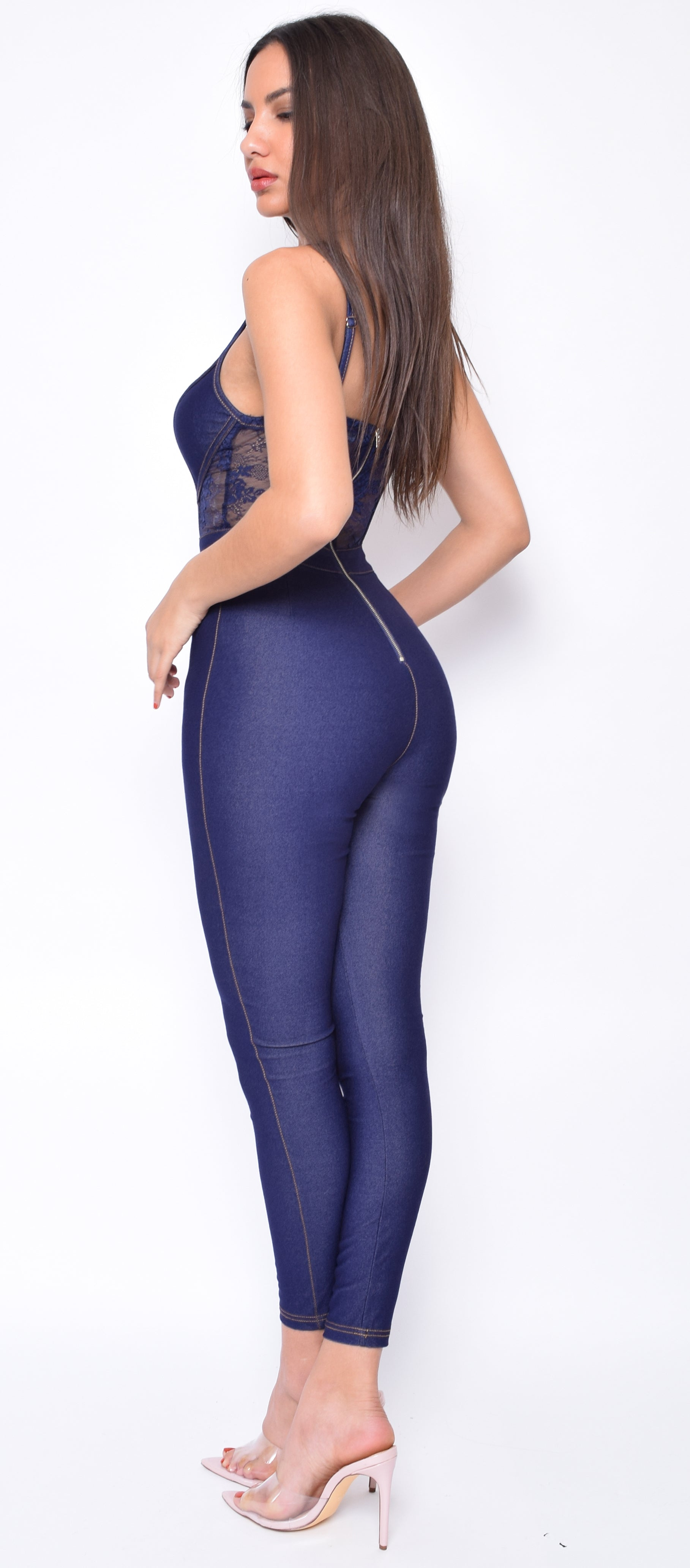 Noa Blue Lace Detail Denim Jumpsuit