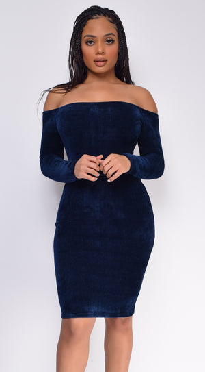 Gem Navy Off Shoulder Velvet Dress