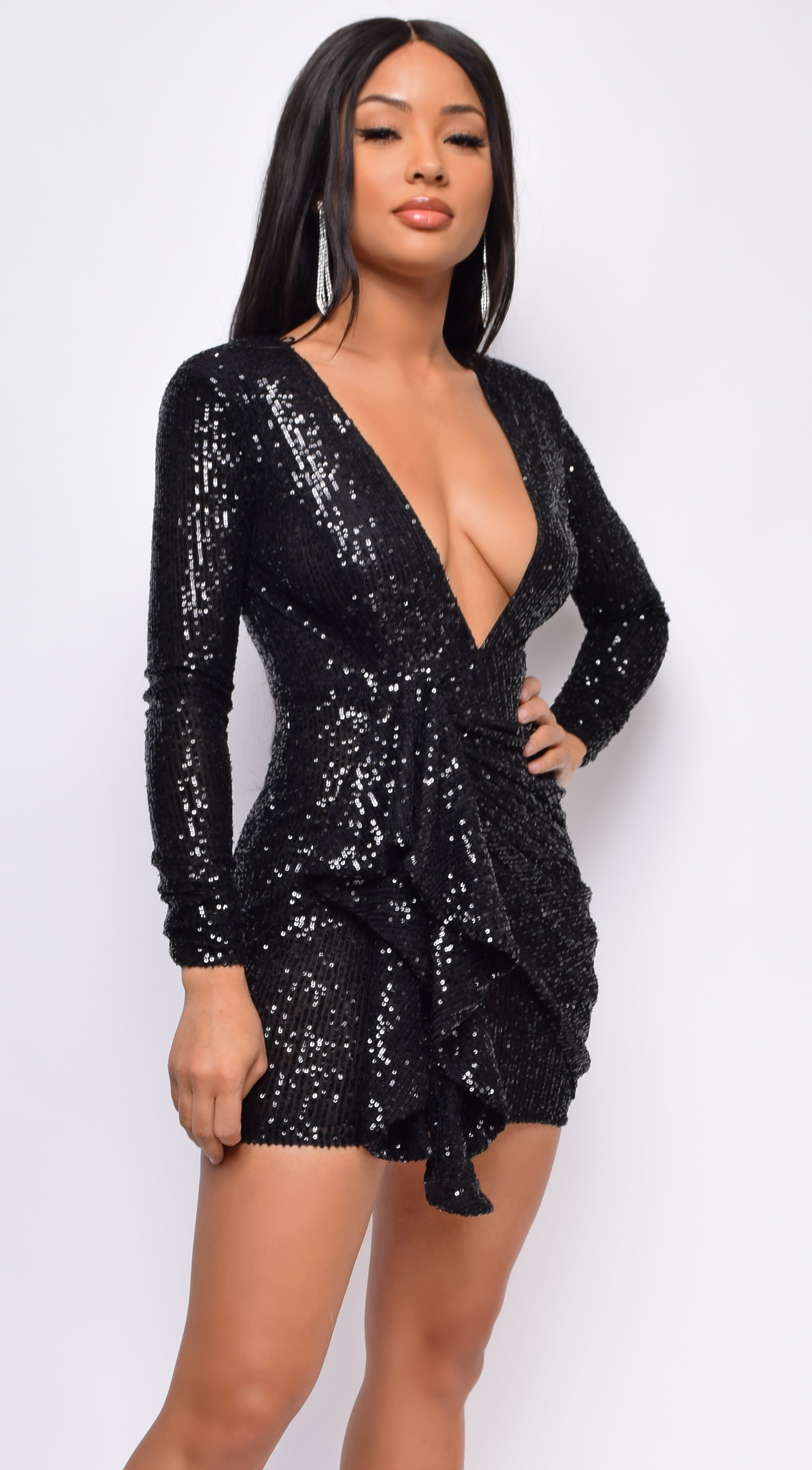 Soila Black Sequin Drape Side Dress