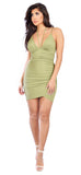 Casia Overlap Light Olive Dress - Emprada