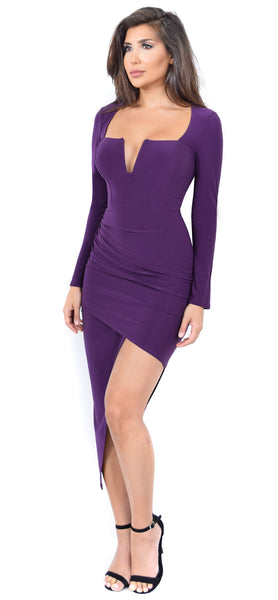 Jaylene Purple Square Neck Dress