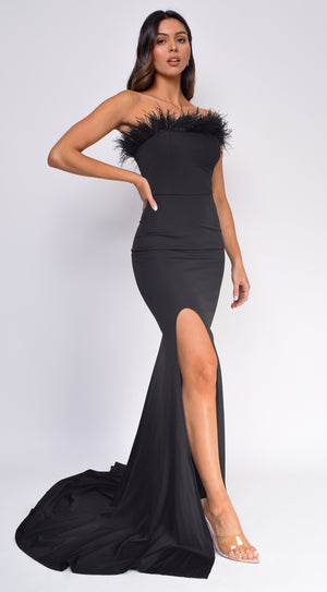 Laila Black Feather Gown