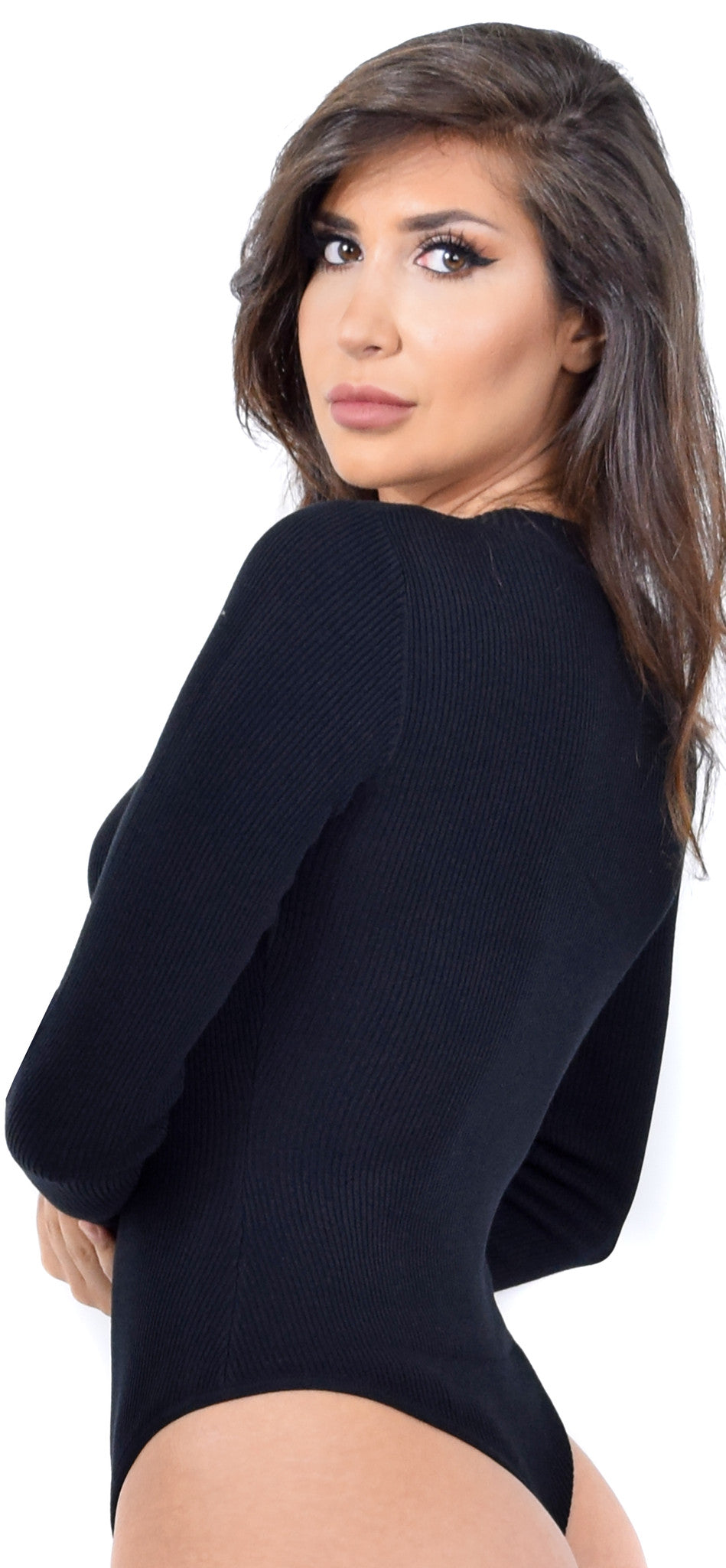 Essential Black Ribbed Long Sleeve Bodysuit - Emprada