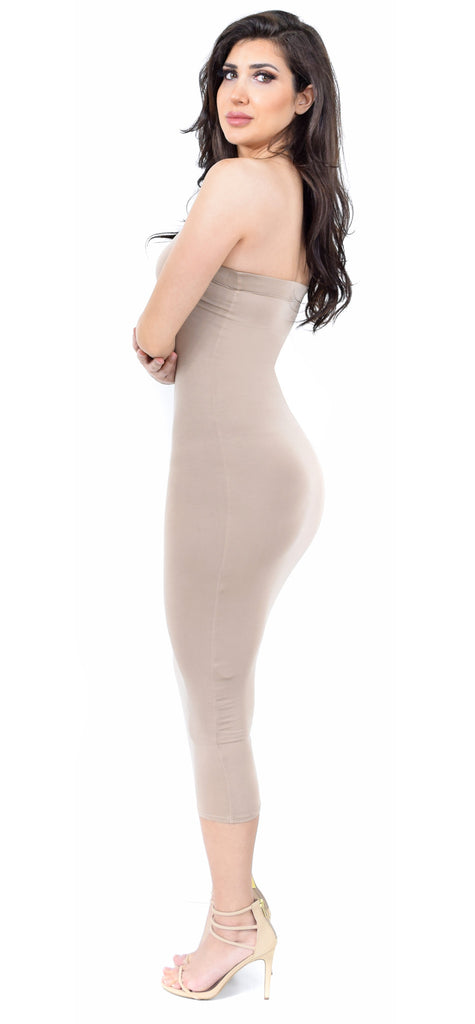 Taupe Tube Midi Dress - Emprada