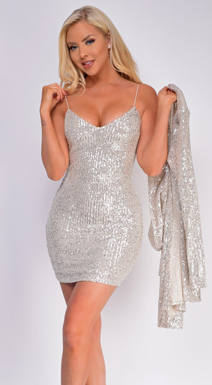 Monica Silver Sequin Dress And Jacket Set