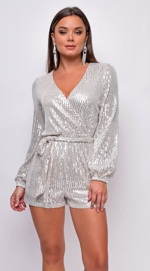 Tempo Silver Sequin Long Sleeve Belted Romper