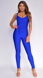 Elmirah Royal Blue Waist Cinching Bandage Jumpsuit