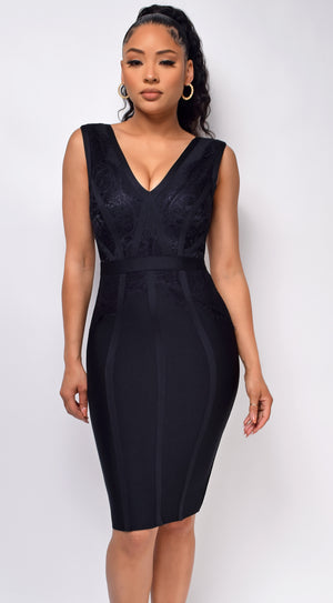 Tavia Black V Neck Lace Bandage Midi Dress