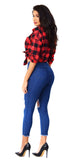 High Waist Knee Destroyed Jeans - Emprada