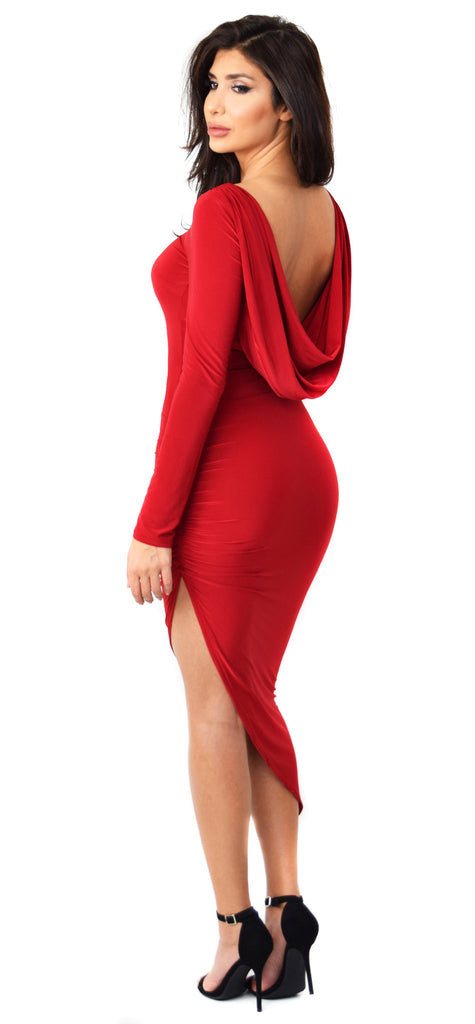 Giselle Draped Open Back Red Dress - Emprada