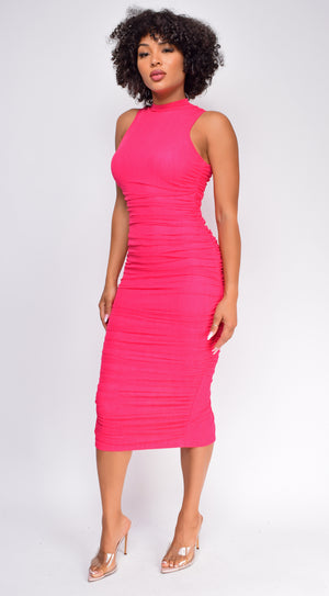 Delina Hot Pink High Neck Ruched Midi Dress
