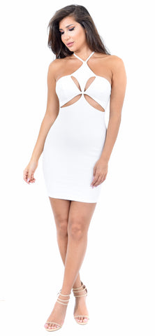 Ambri Ivory Cut Out Mini Dress - Emprada