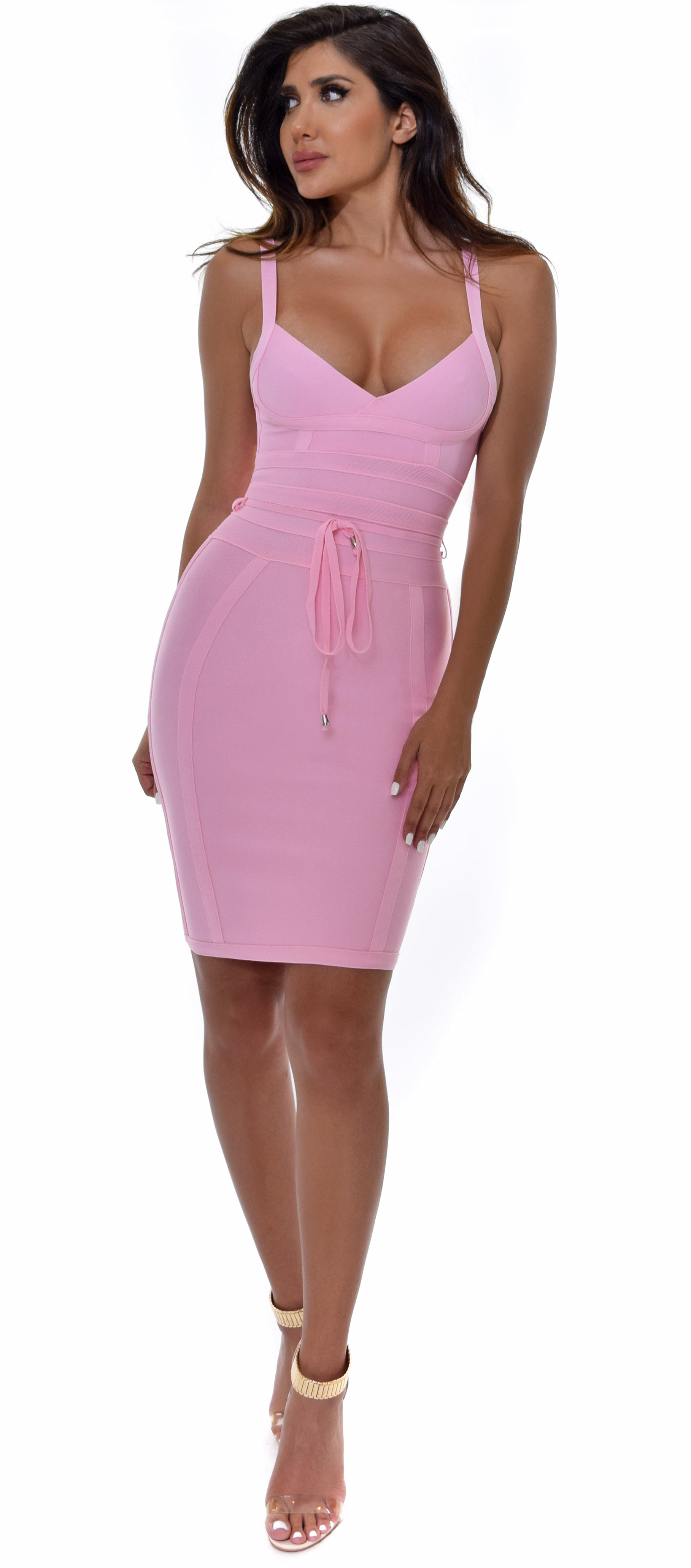 Lucila Pink Belted Bandage Dress
