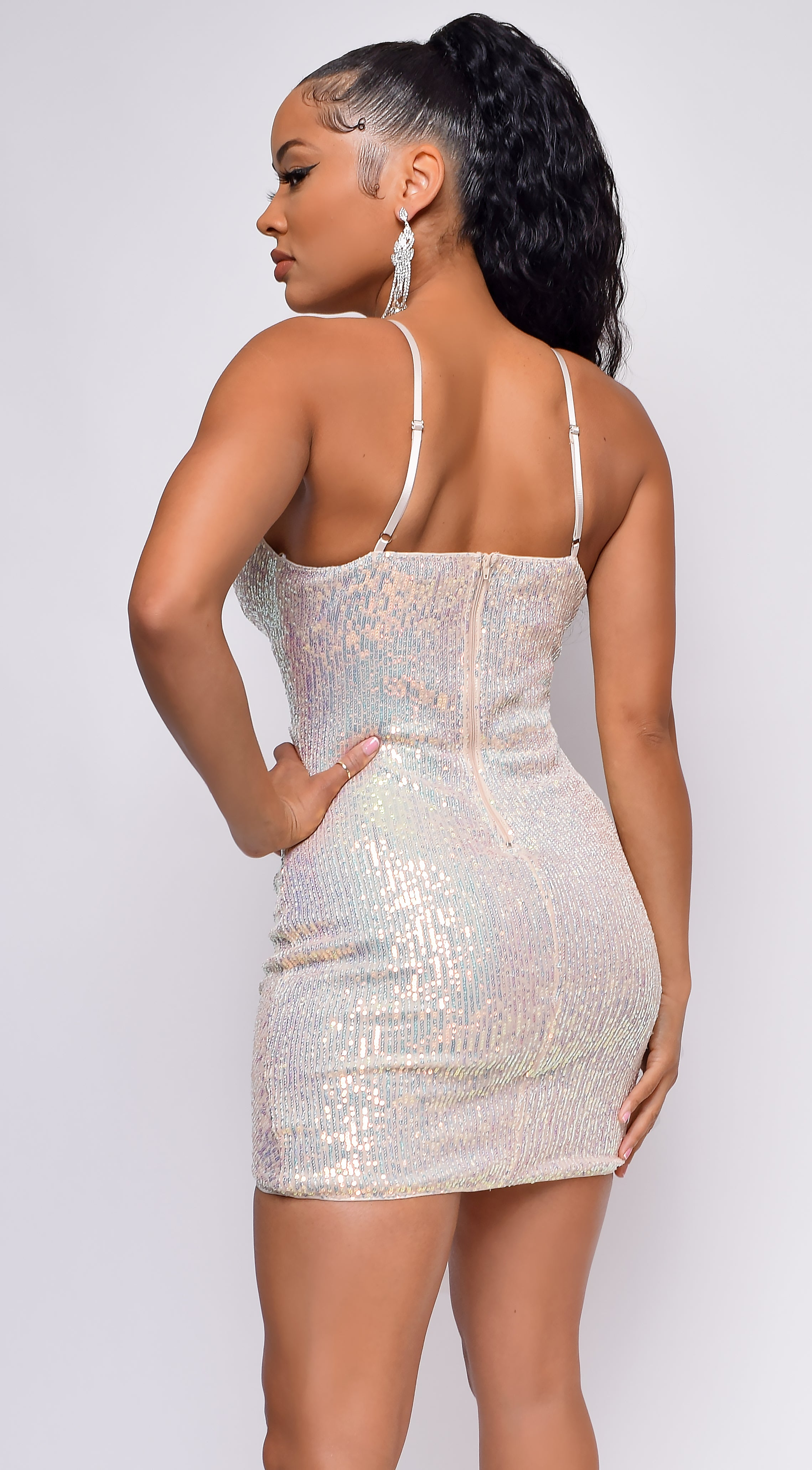 Sequin Them Over Silver Opal Sequin Dress