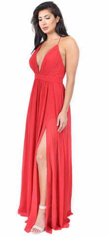 Aurora Red Front Slit Maxi Dress