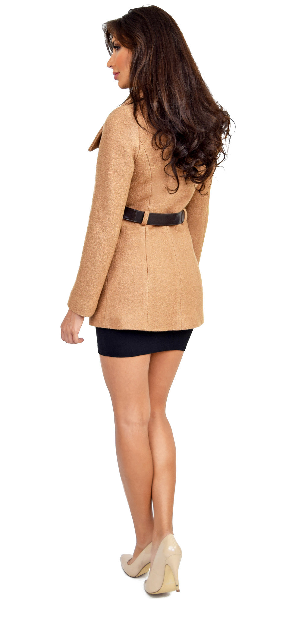 Drew Camel Fitted Wool Jacket With Belt At Waist - Emprada