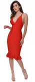 Nessa Red Mermaid Midi Bandage Dress - Emprada