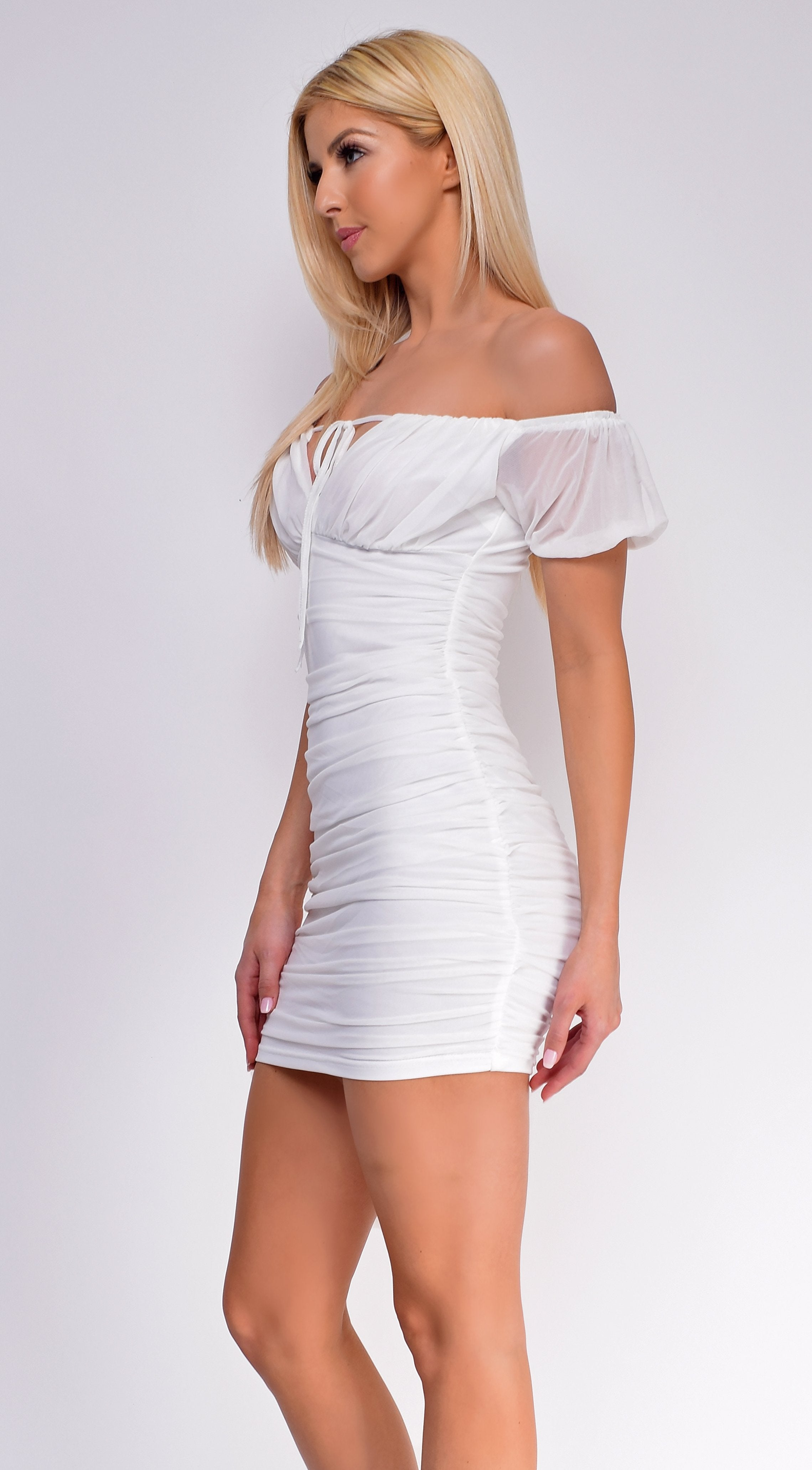 Maryland White Off Shoulder Ruched Dress