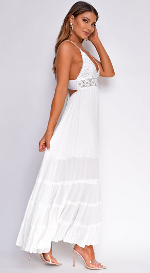 Keola Ivory White V Neck Boho Maxi Dress