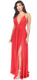 Aurora Red Front Slit Maxi Dress - Emprada