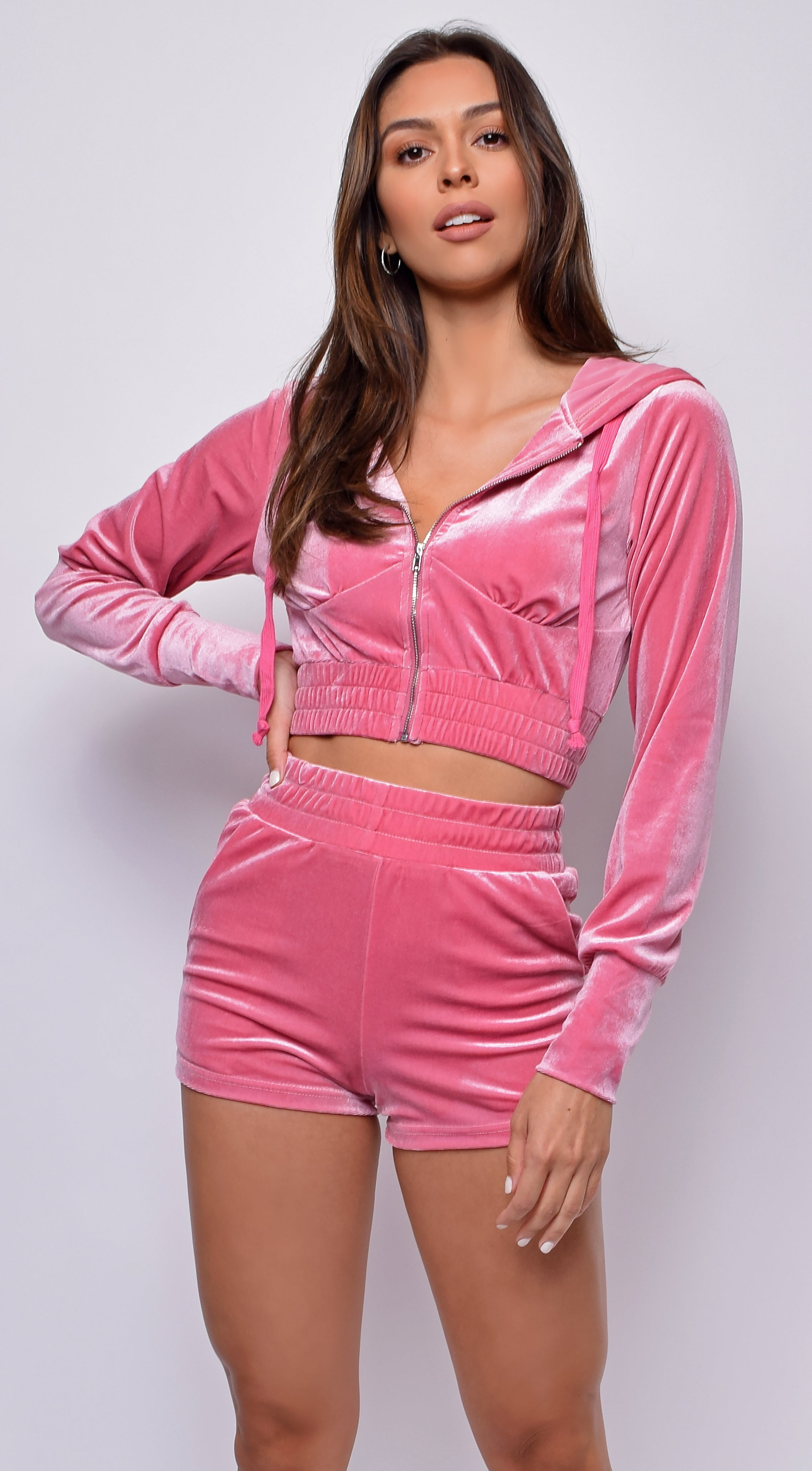 Lounge Around Pink Velour Crop Hoodie Shorts Set
