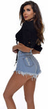 Tenacity Light Wash High Rise Distressed Denim Shorts