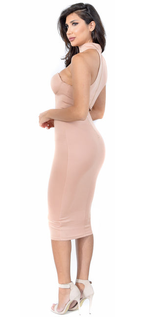 Talla Rose Taupe Choker Bustier Dress - Emprada
