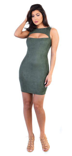 Katerina Forest Green Faux Suede Dress - Emprada
