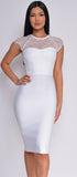 Makenna White Lace Cap Sleeve Bandage Dress