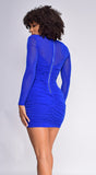 Kira Royal Blue Ruched Mesh Long Sleeve Dress