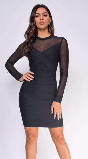 Hadley Black Mesh Sleeves Bandage Dress