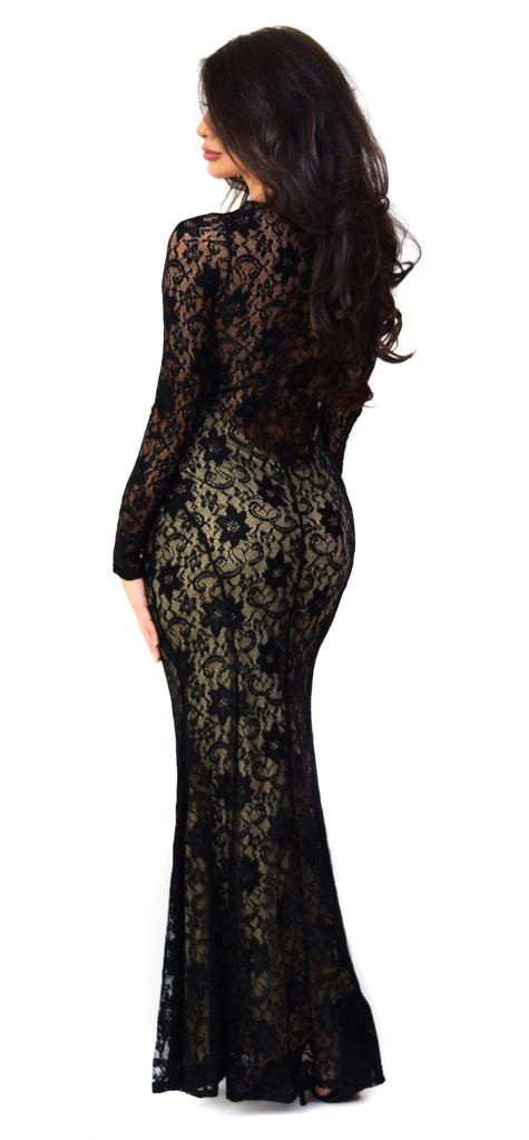 Long Sleeve Floral Lace Gown - Emprada