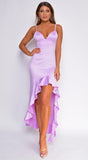 Aleyda Lavender Purple High Low Ruffle Satin Maxi Dress