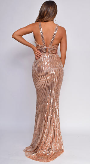 Hera Rose Gold Sequin Gown
