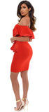 Zinnia Red Satin Trim Off Shoulder Ruffle Dress - Emprada