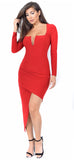 Jaylene Red Square Neck Dress