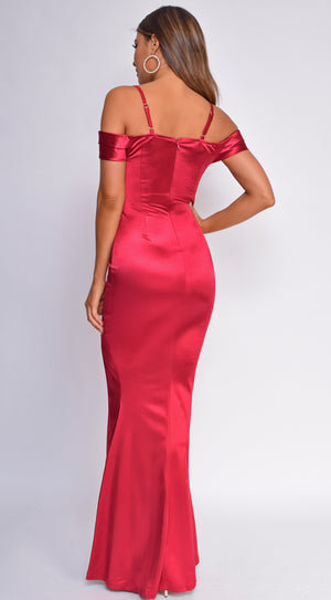 Kaylyn Burgundy Red Off Shoulder Satin Maxi Dress