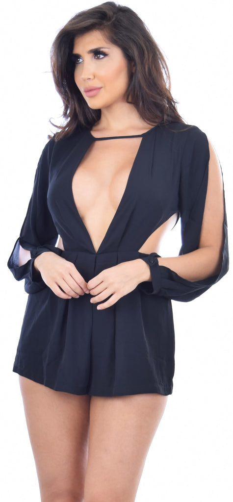 Kalina Black Open Shoulder V Romper - Emprada