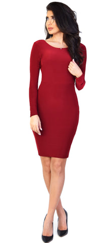 Audrey Open Back Wine Dress - Emprada