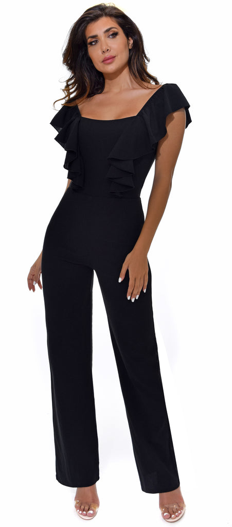 Amay Black Ruffle Front Jumpsuit - Emprada