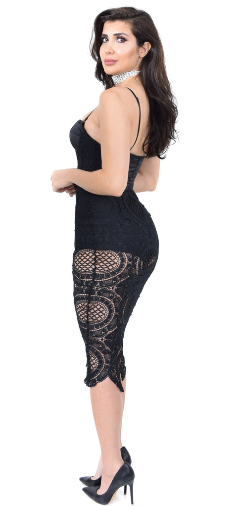 Mandy Black Crochet Bustier Dress