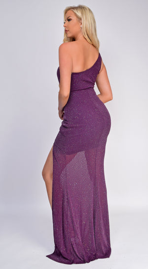Averie Plum Purple One Shoulder Glitter Maxi Dress
